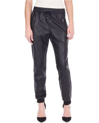 William Rast Faux Leather Track Pants - Lyst