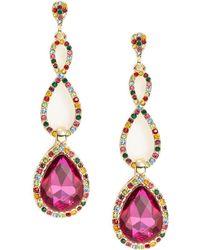R.j. Graziano Fuchsia Crystal Drop Earrings - Pink