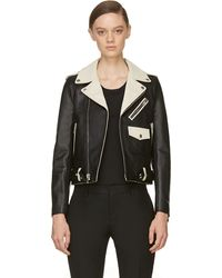 Saint Laurent Black and Ivory Leather Biker Jacket - Lyst