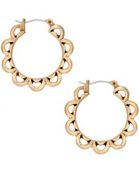 Lucky Brand Gold-tone Floral Hoop Earrings - Metallic