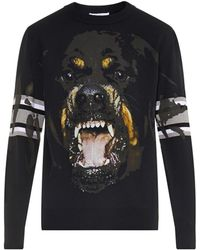 Givenchy Rottweiler-Print And Striped Sweater - Lyst