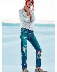 Free People Patchwork Relaxed Jean - Lyst