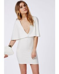 Missguided Crepe Cape Bodycon Dress White - Lyst