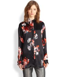 MSGM Floral-print Silk Satin Shirt - Lyst