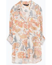 Zara Printed Blouse With 2 Pockets - Lyst