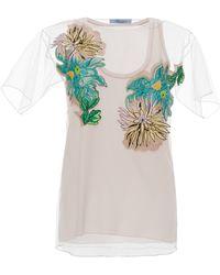 Blumarine Tulle Flower Applique Blouse - Lyst