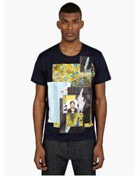Raf Simons Men'S Navy Printed Cotton T-Shirt - Lyst