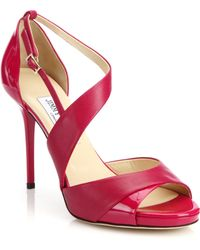 Jimmy Choo Tyne Asymmetrical Leather & Patent Leather Sandals pink - Lyst
