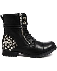Aldo Alodia Leather Lace Up Boots - Lyst