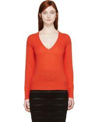 Burberry Prorsum Orange Cashmere V_Neck Sweater - Lyst