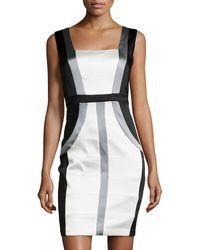 Jax Colorblock Stretch Satin Sheath Dress - Lyst