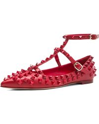 Valentino Rockstud All Over Cage Leather Ballerina Flats - Lyst
