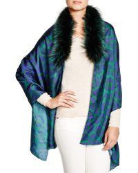 Badgley Mischka - Animal Print Wrap With Fox Fur Stole - Lyst
