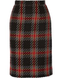 Miu Miu Checked Wool-Tweed Pencil Skirt - Lyst