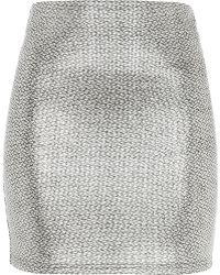 River Island Silver Metallic Jacquard Mini Skirt - Lyst