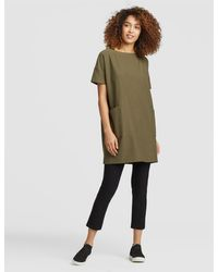 Eileen Fisher - Washable Stretch Crepe Short-sleeve Tunic - Lyst
