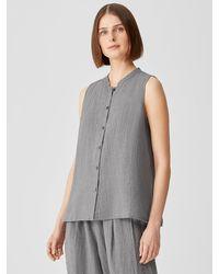 Eileen Fisher Puckered Organic Linen Mandarin Collar Shirt - Gray