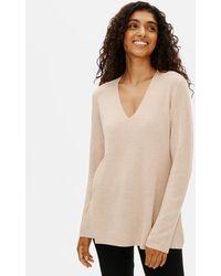 Eileen Fisher Ultrafine Merino V-neck Tunic - Natural