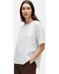 Eileen Fisher Organic Linen Check Box-top - White