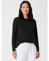 Eileen Fisher Organic Pima Cotton Jersey Long-sleeve Tee - Black