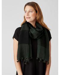 Eileen Fisher Sheer Silk Organic Cotton Grid Scarf - Black
