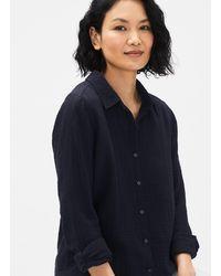 Eileen Fisher Organic Cotton Gauze Classic Collar Shirt - Blue