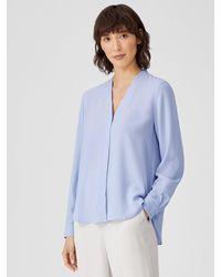 Eileen Fisher Silk Georgette Crepe V-neck Shirt - Blue