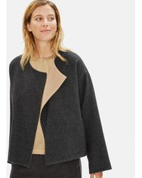 Eileen Fisher Limited Edition Baby Alpaca Doubleface Short Coat - Gray