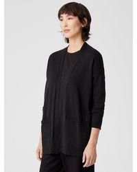 Eileen Fisher Organic Cotton Linen Slub High Collar Cardigan - Black