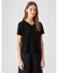 Eileen Fisher Organic Cotton Slub V-neck Tee - Black