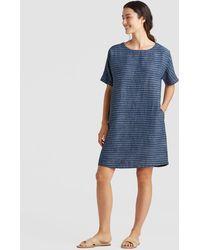 Eileen Fisher - Organic Linen Delave Pinstripe Boxy Dress - Lyst