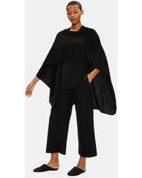 Eileen Fisher Fine Silk Cashmere Serape - Black