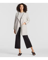 Eileen Fisher - Tencel Jacquard Knit Stand Collar Jacket - Lyst