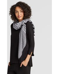 Eileen Fisher - Organic Cotton Silk Gingham Square Scarf - Lyst