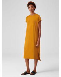 Eileen Fisher Viscose Jersey Crew Neck Dress - Orange