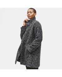Eileen Fisher Curly Alpaca High Collar Coat - Black