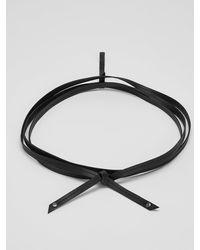 Eileen Fisher Buttery Leather Skinny Wrap Belt - Black