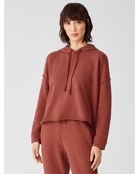 Eileen Fisher Organic Cotton French Terry Short Hoodie - Red