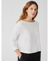 Eileen Fisher Organic Cotton Slub Box-top - White
