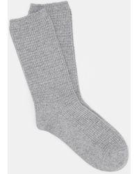 Eileen Fisher Cashmere Silk Viscose Waffle Knit Crew Sock - Gray