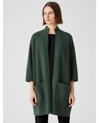 Eileen Fisher Silk Organic Cotton Interlock Jacket - Green
