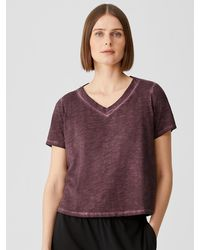 Eileen Fisher Pigment-dyed Organic Cotton V-neck Tee - Purple