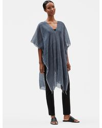 Eileen Fisher Handloomed Ethiopian Cotton Caftan - Blue