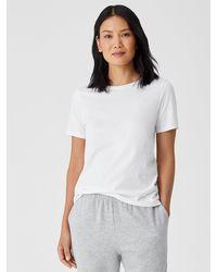 Eileen Fisher Organic Pima Cotton Jersey Short-sleeve Tee - White