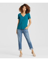 Eileen Fisher - Organic Cotton Jersey Slub V-neck Tee - Lyst