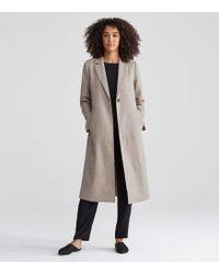 Eileen Fisher - Notch Collar Calf Length Coat In Woven Superfine Alpaca - Lyst