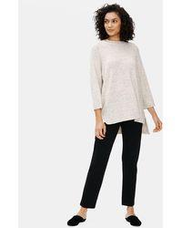Eileen Fisher Organic Cotton Speckle Crew Neck Tunic - White
