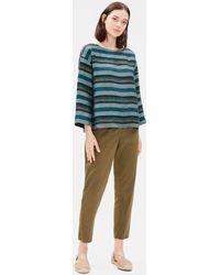Eileen Fisher - Organic Linen Striped Box-top - Lyst