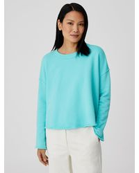 Eileen Fisher Organic Cotton French Terry Box-top - Blue