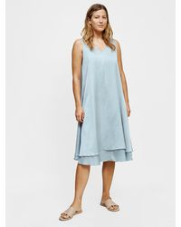 Eileen Fisher Washed Silk Organic Cotton V-neck Dress - Blue